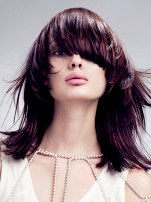 Heavy Layered Shoulder Length Hairstyle