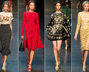 Have a look at coolest highlights from the Dolce & Gabbana, Emilio Pucci, Moschino, Missoni and Aquilano. Rimondi spring 2014 collections.