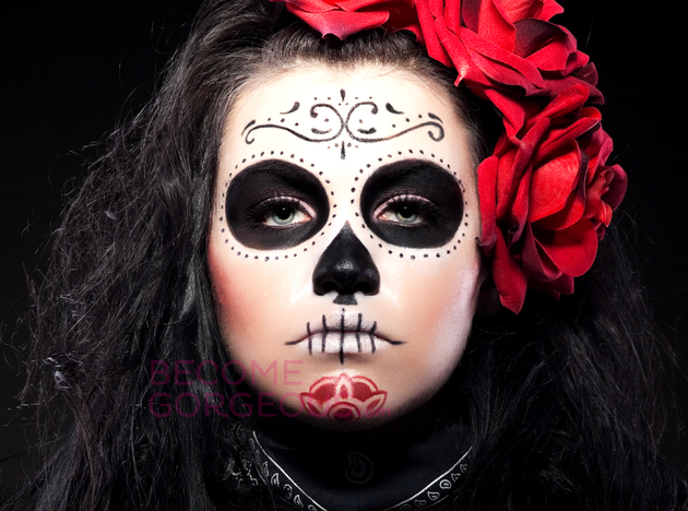 Sugar skull makeup for halloween halloween sugar skull - Pinturas para halloween ...