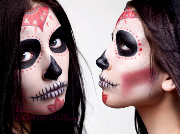 Simple Sugar Skull Makeup For Halloween