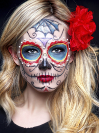 Colorful Sugar Skull Makeup For Halloween