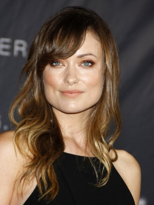 Olivia Wilde Layered Hair with Side Bangs