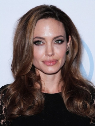 Angelina Jolie Layered Curly Hairstyle