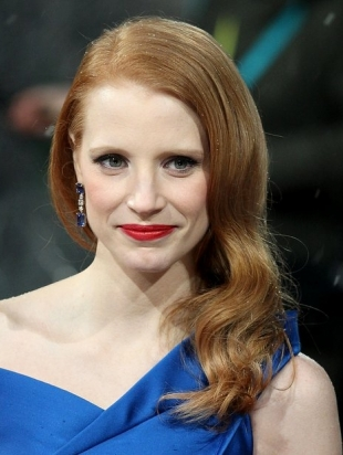 Jessica Chastain 2013 BAFTA Awards Hairstyles