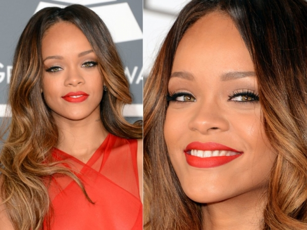 Grammys 2013 Makeup: Rihannas Sexy Matte Red Lips