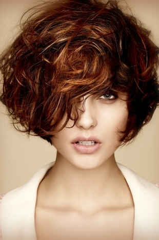 Curly Dark Brown Hair with Highlights