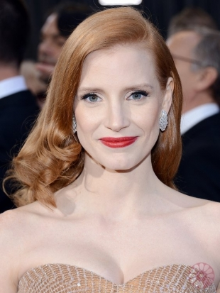 Jessica Chastain Oscars Hairstyles 2013: Glamorous Curls