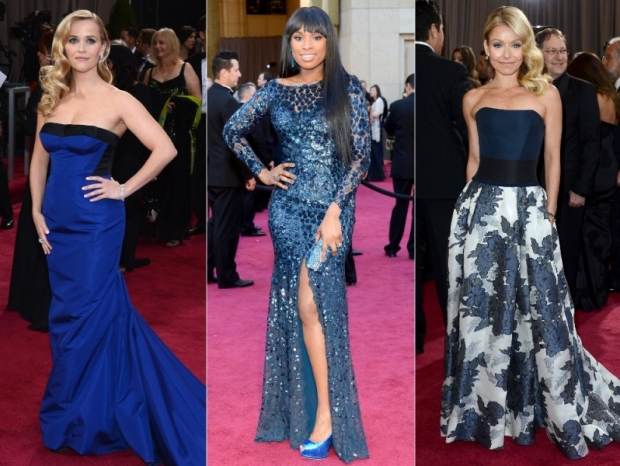 Oscars Dresses 2013 Blue Gowns