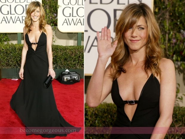 Jennifer Aniston Black Dress Golden Globe Awards 2004