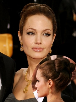 Angelina Jolie Updo Hairstyle Golden Globes 2007