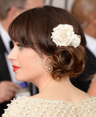 Zooey Deschanel 2014 Golden Globes Updo