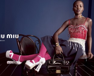 Elle Fanning, Bella Heathcote, '12 Years a Slave' actress Lupita Nyong'o and Elizabeth Olsen strike a pose for the new Miu Miu spring 2014 campaign. Have a look!