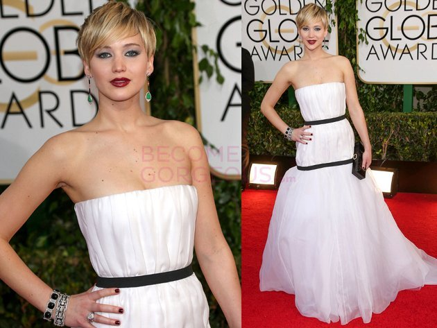 Jennifer Lawrence 2014 Golden Globes Dior Dress