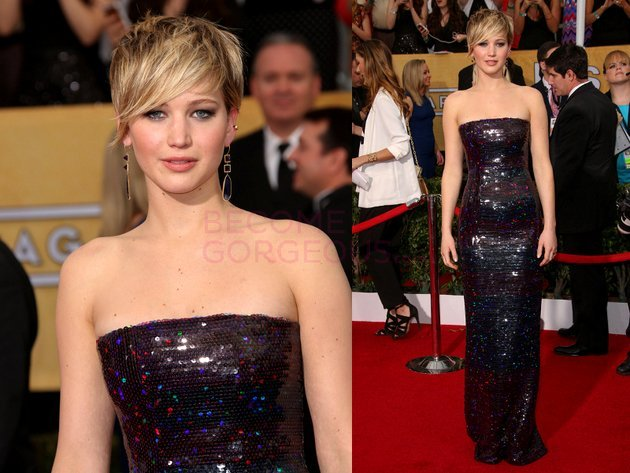 Jennifer Lawrence Dior Dress 2014 Screen Actors Guild Awards