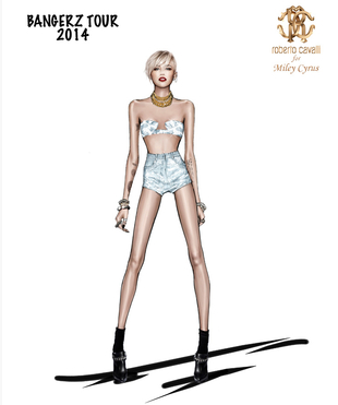 Miley Cyrus' Bangerz Tour Costume Sketch