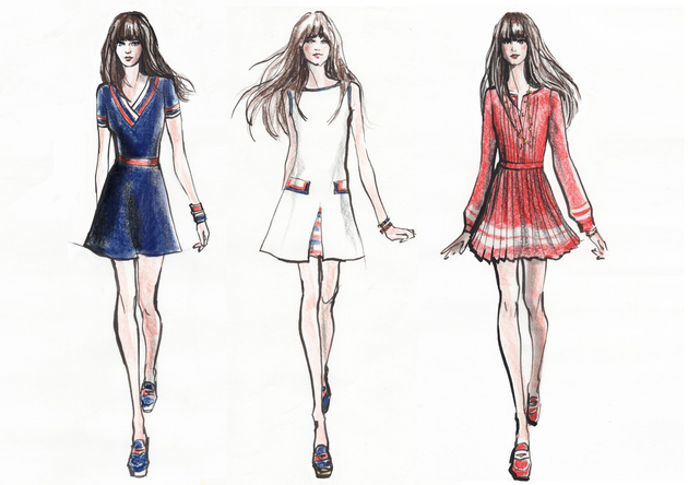 Zooey Deschanel For Tommy Hilfiger Collection Sketches