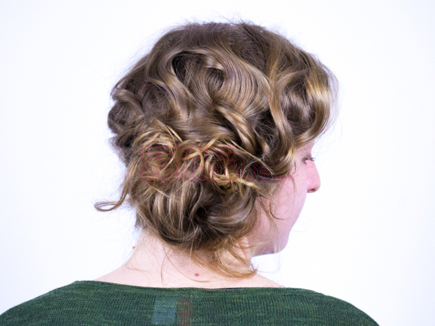 Finished Face Slimming Updo Tutorial