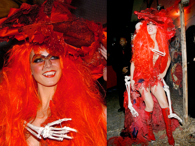 Heidi Klum Halloween 2004 Red Witch Costume