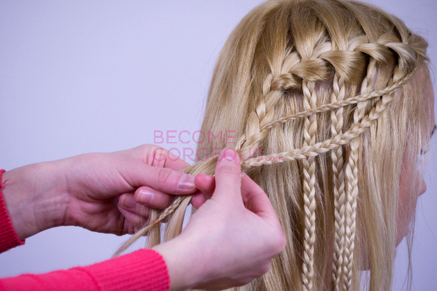 Modified Waterfall Braid Step 10