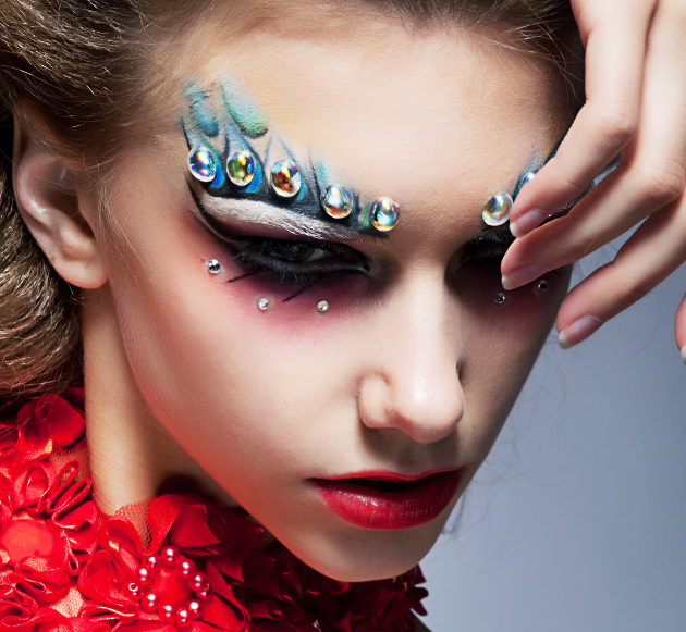 Rave Makeup With Rhinestones