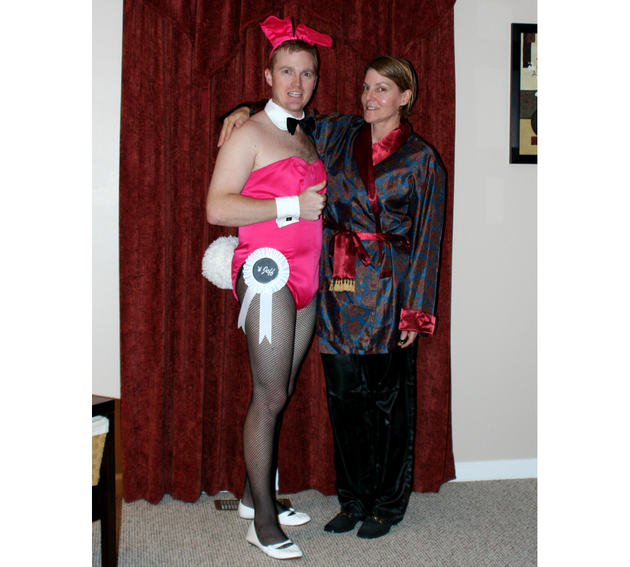 Hugh Hefner And A Playboy Bunny Halloween Costume