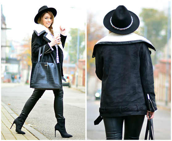 Black Shearling Jacket Outfit