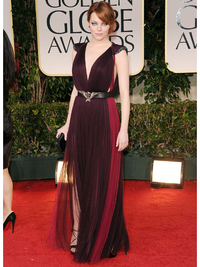 Emma Stone Wearing Marsala Color Of The Year 2015