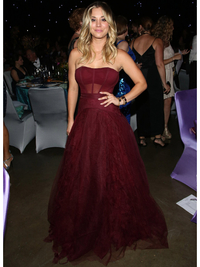 Kaley Cuoco Wearing Marsala Color Of The Year 2015