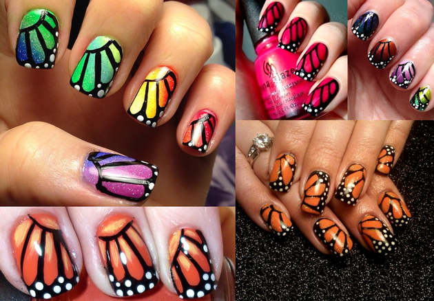 Monarch Butterfly Wings Nail Art Ideas