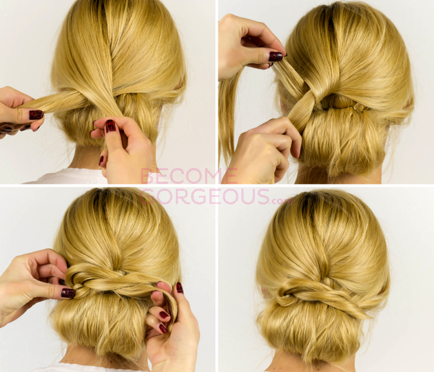 Easy Updo Hair Tutorial Steps
