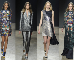 Check out the most interesting highlights from the Mary Katrantzou, Temperley London, House of Holland, Holly Fulton and Matthew Williamson fall 2014 collections.