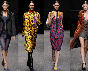 See the best highlights from the Prada, Moschino, Just Cavalli,  Fausto Puglisi and  Versace  fall 2014 shows.