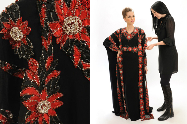 Red Diamond Abaya Dress By Debbie Wingham