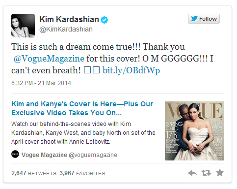 Kim Kardashian Vogue Cover Tweet