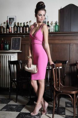 Dsquared2 Pink And Black Dresses 2014 Look  (3)
