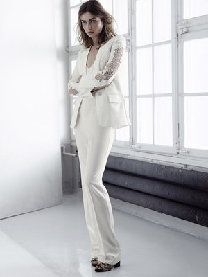 H And M Conscious Collection White Pant Suit