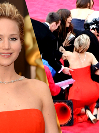 Jennifer Lawrence Falls Again at the 2014 Oscars