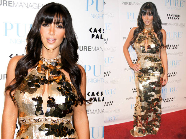 Kim Kardashion Gold Pailette Dress