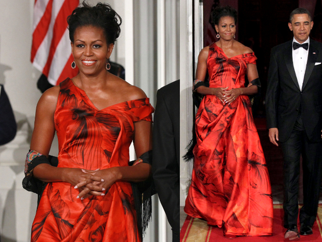 Michelle Obama Alexander Mc Queen Red Gown