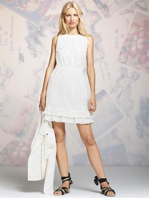 Peter Some For Designation White Eyelet Ruffle Dress