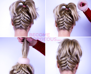 Learn how to style an upside down French braid updo hairstyle following this hair tutorial!
