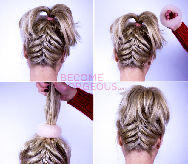 Upside Down French Braid Updo Hairstyle