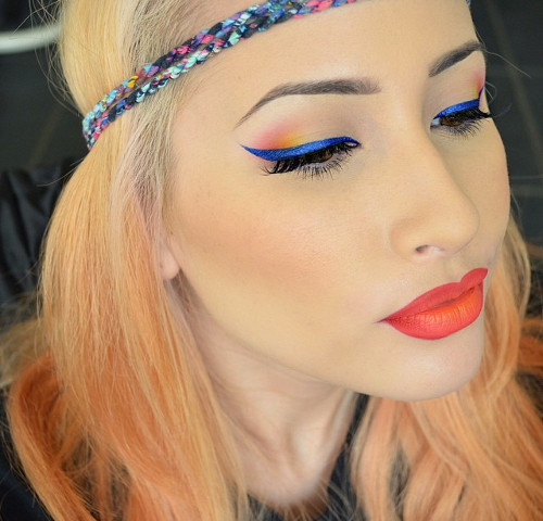 Blue Winged Eyeliner Makeup