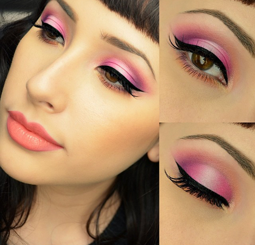 Winged Eyeliner Pink Makeup