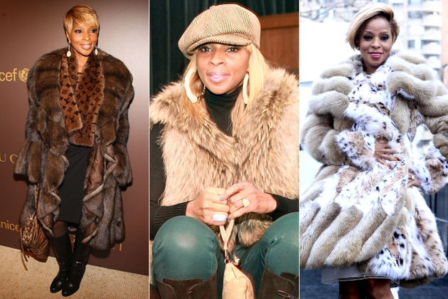 Mary J Blige Wearing Real Fur