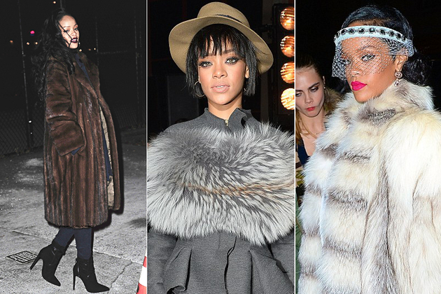 Rihanna Wearing Real Fur