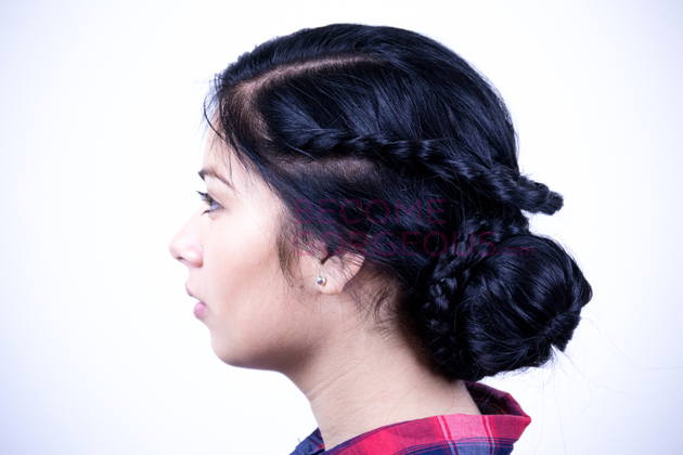 Finished Braided Updo Side View