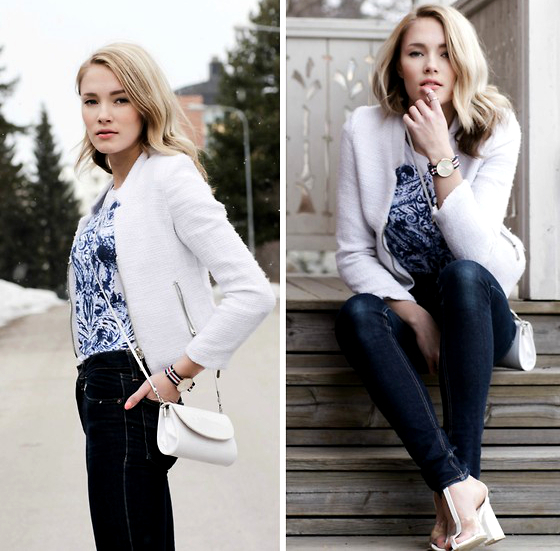 Jeans With Print Top And Jacket