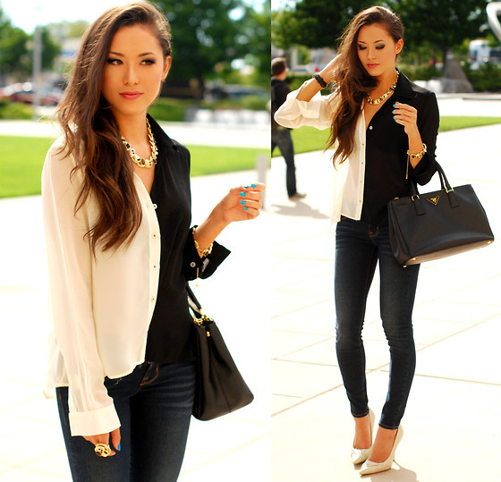 Skinny Jeans With Shirt And Pumps