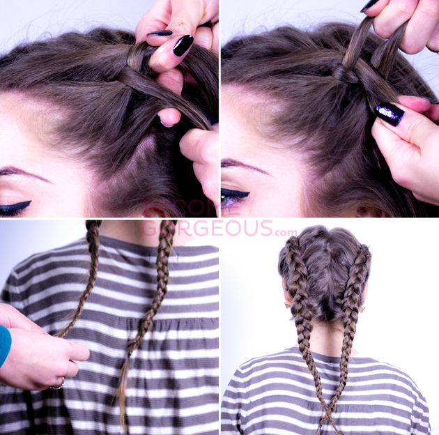 Double Dutch Braid For Braided Updo